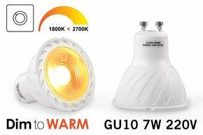 Dim2Warm 7 Watt GU10 LED spotje Dim to Warm