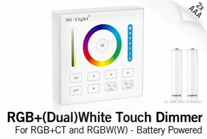 MiLight MiLight RGB+ DualWhite (RGB+CT) Touch Wandbediening Opbouw, 1-Zone, RF, 2xAAA