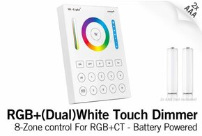 MiLight MiLight RGB+ DualWhite (RGB+CT) Touch Wandbediening Opbouw, 8-zones, RF, 2xAAA