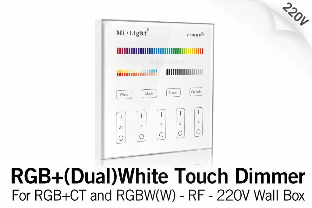 MiLight MiLight RGB+ DualWhite (RGB+CT) Touch Inbouw wandbediening, 4-zones, RF, 220V