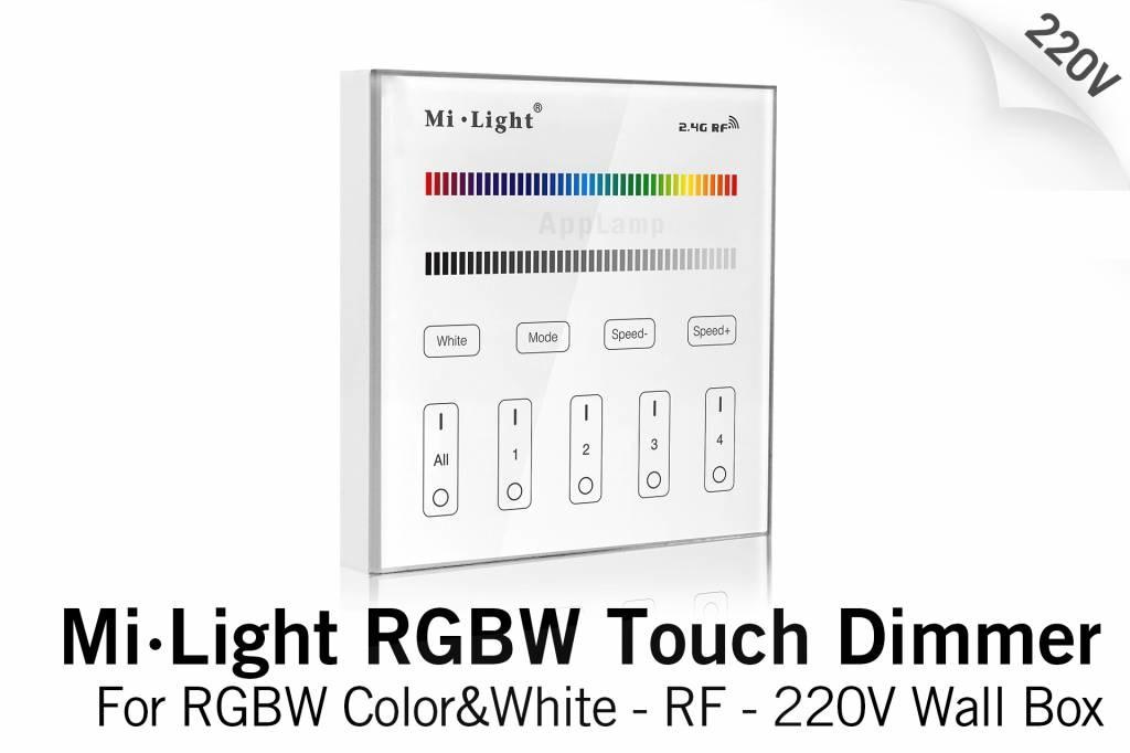 MiLight MiLight Inbouw RF Touch Dimmer Paneel 4-kanaals, RGBW Verlichting, 220V