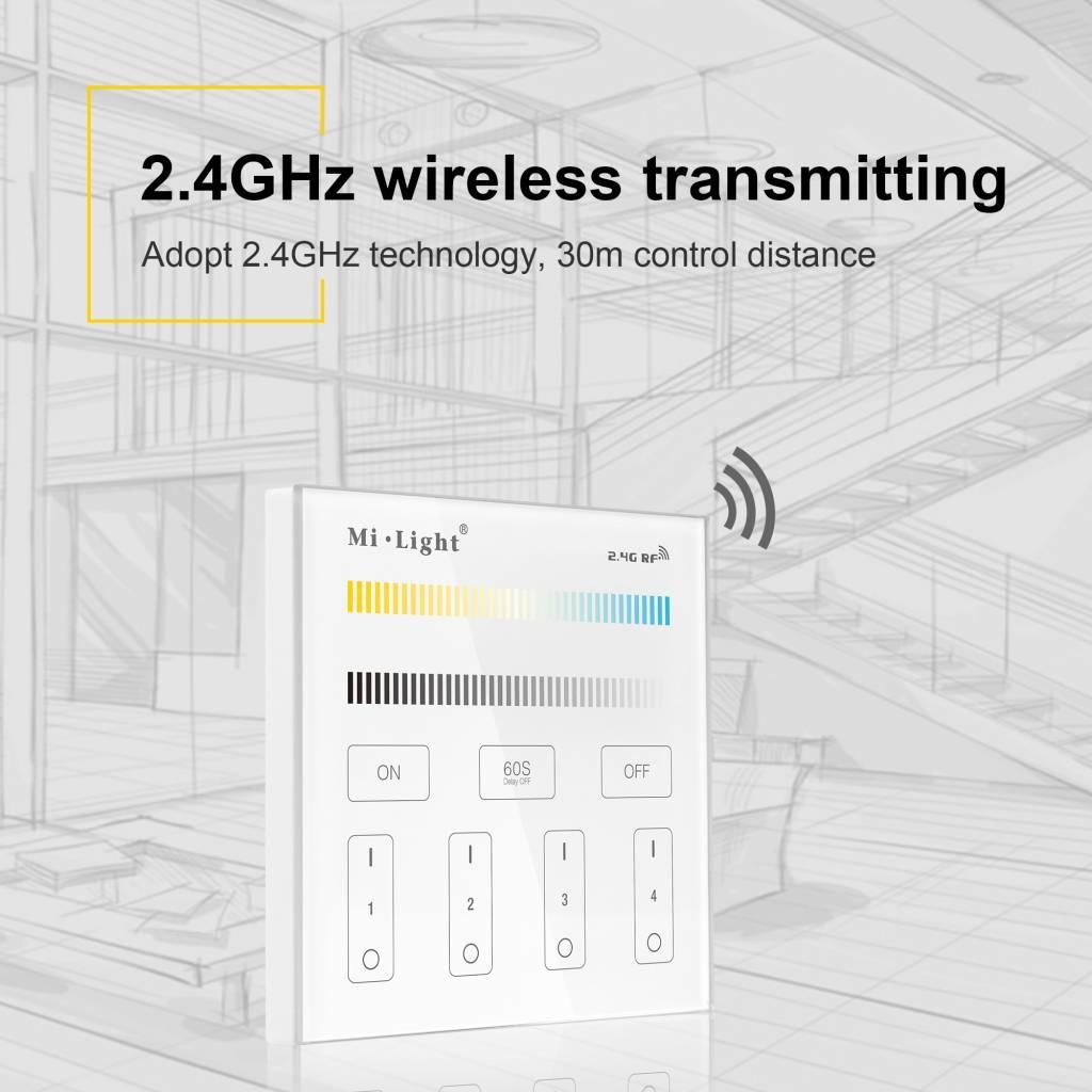 MiLight MiLight Inbouw Dual White RF Touch Dimmer Paneel 4-kanaals, 220V