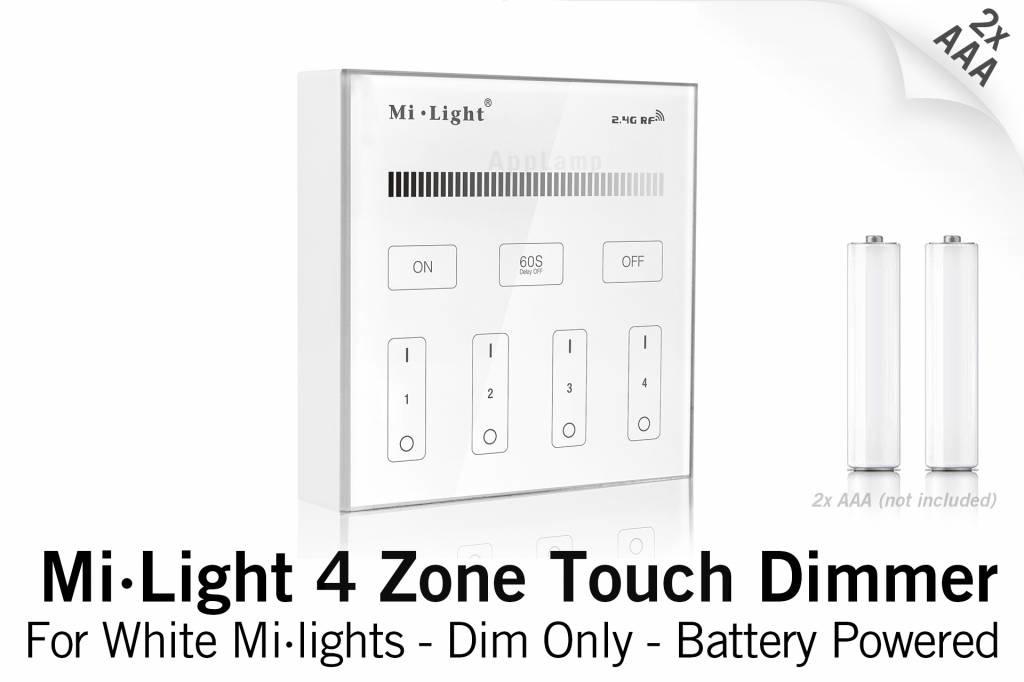 MiLight MiLight RF Opbouw Touch WandBediening Dimmer 4-zone, Enkele kleur, AAA Batterij