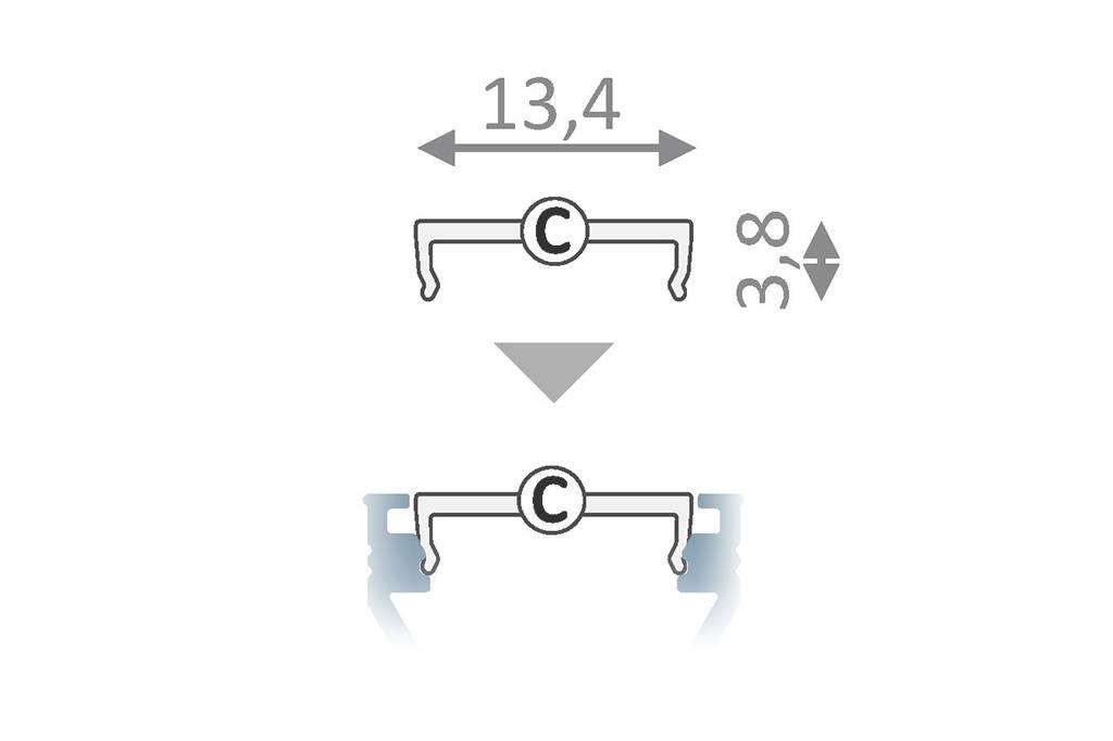 Cover C Clickon Zwart in 1m of 2m lengte voor profielen OMNI, EDGE, LUMO, FLUID ,LINEA, SUB, ANGLE10, TRIAD, OBAR, ROTO, STRADA en BEND.