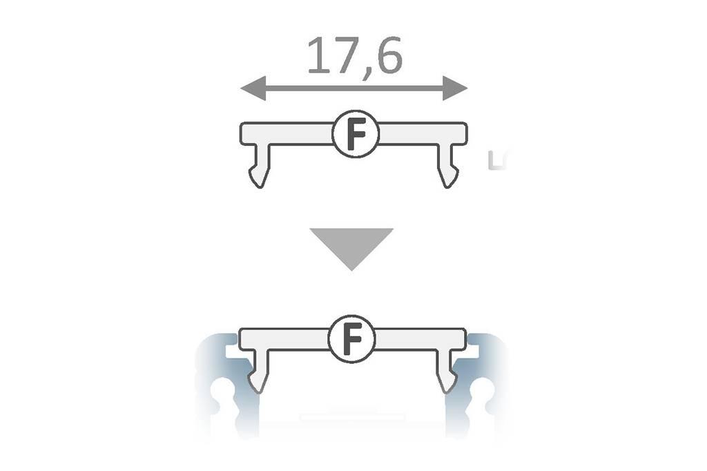 Cover F Clickon Zwart in 1m of 2m lengte voor profiel type FLUID14, LINEA14, ANGLE14 en NOVA