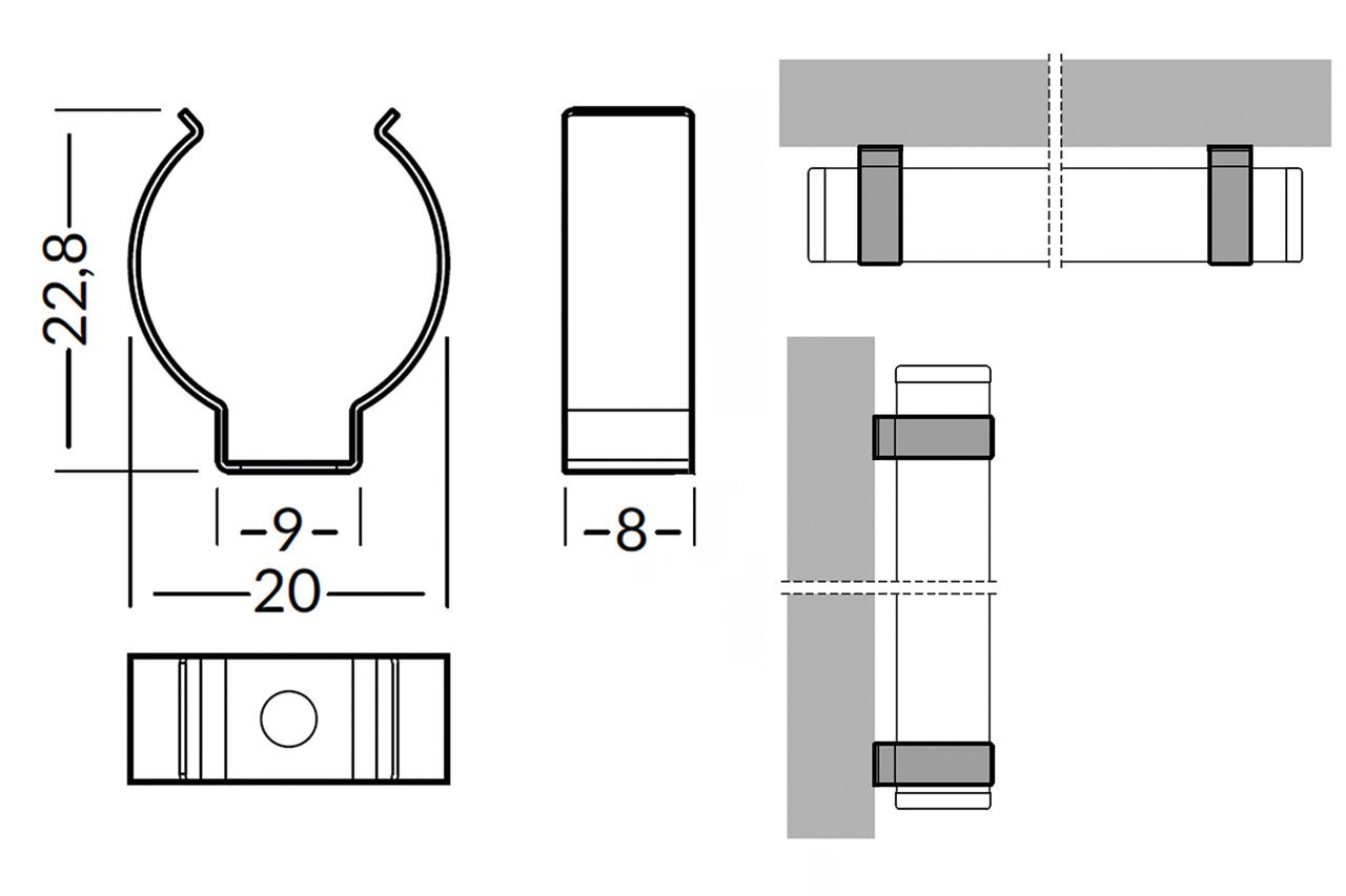 Houders ROTO12  vlakke montage
