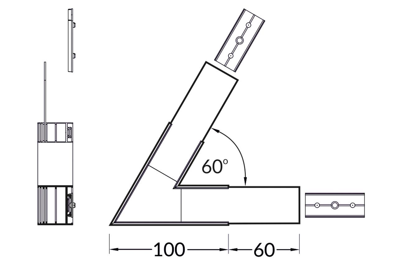 Hoek koppelstuk 60° voor EVO302 LED profiel