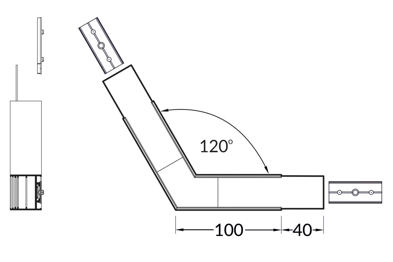 Hoek koppelstuk 120° voor EVO302 LED profiel