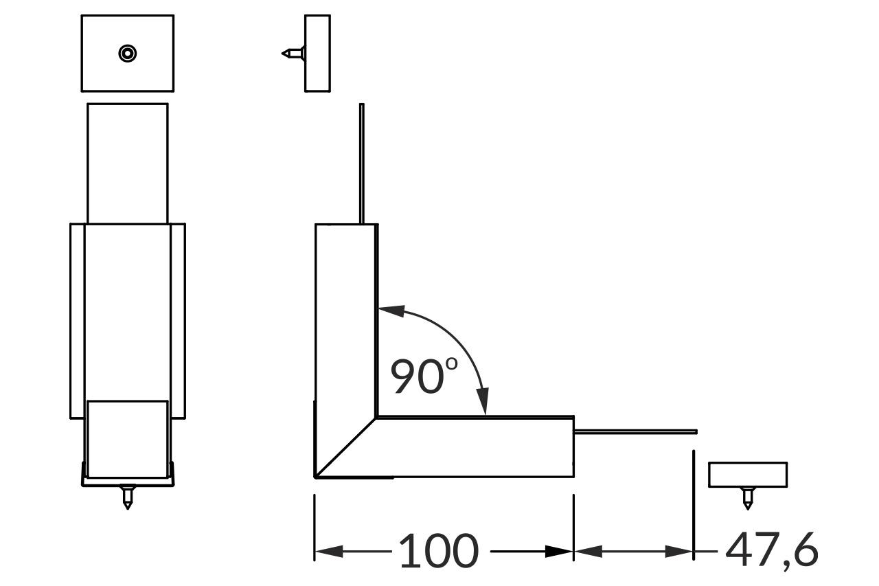 Hoek koppelstuk 90° binnenhoek voor EVO302 LED profiel