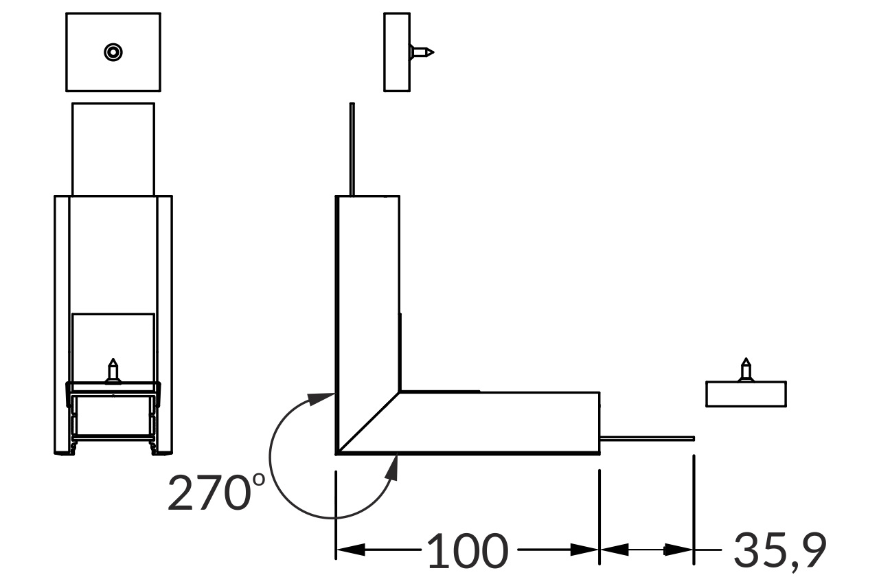Hoek koppelstuk 90° buitenhoek voor EVO302 LED profiel