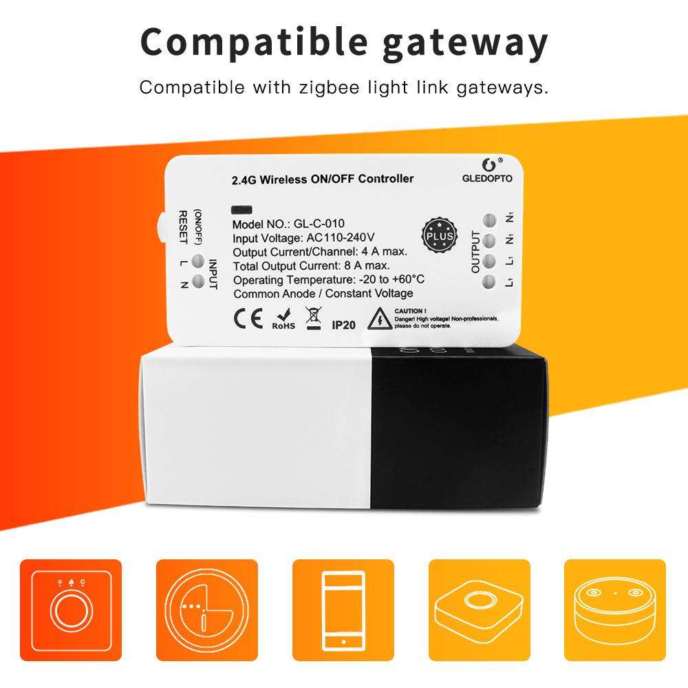 GLEDOPTO Zigbee 3.0 230V Aan/ Uit schakelmodule -1750Watt 8A Max (2x4A)  - GLEDOPTO GL-C-010