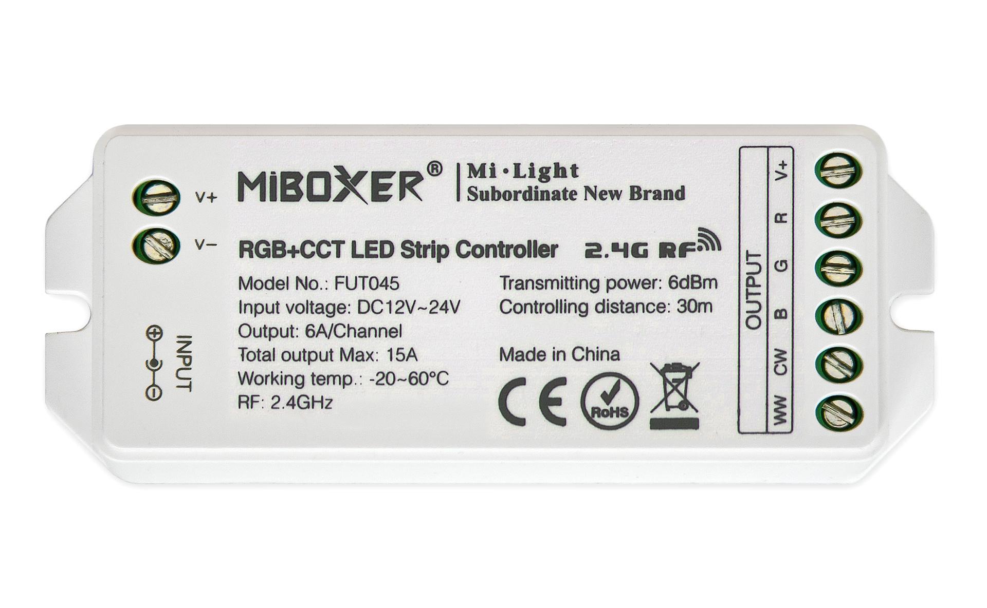 MiLight RGBWW / RGB+CCT LED Strip Controller  12-24V, 15A (los)