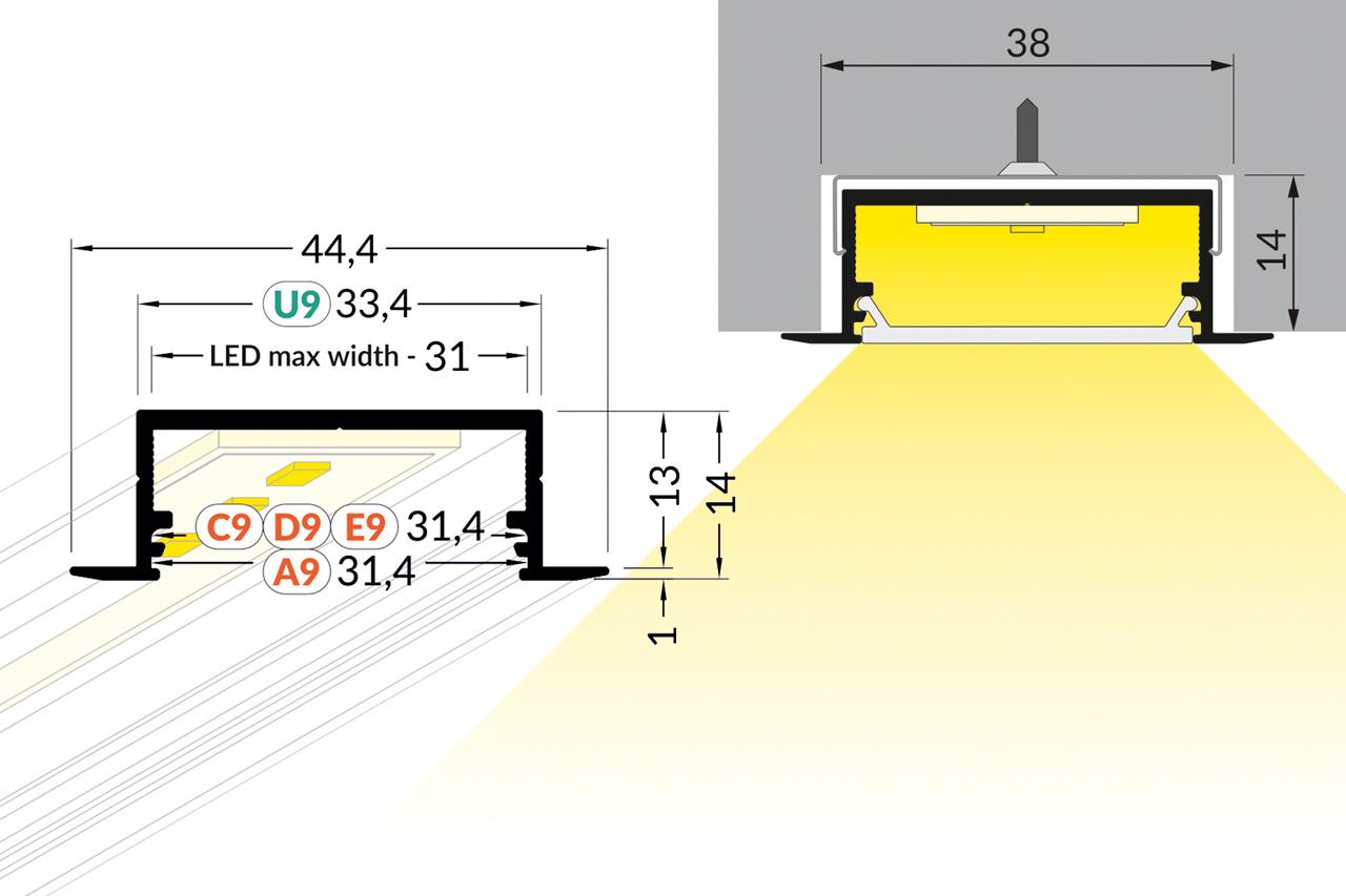 EVO306 31mm verzonken inbouw Led Profiel 1m-2m