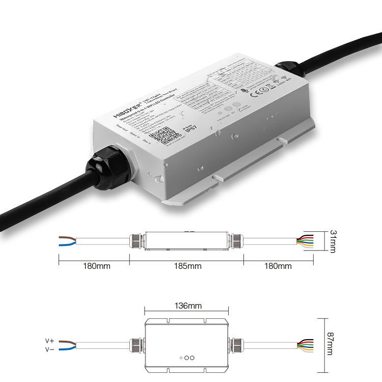 MiLight IP67 Waterdichte WiFi LEDstrip Controller | 12~24V 20A | Optioneel met afstandsbediening |  WL5-WP