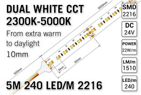 AppLamp ProLine PRO LINE Dual Wit 2300K~5000K CCT Led Strip | 5m 240 Leds pm Type 2216 24V - Losse Strip