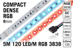 AppLamp ProLine PRO LINE Compact RGB Kleur Led Strip | 5m 120 Leds pm Type 3838 24V - Losse Strip