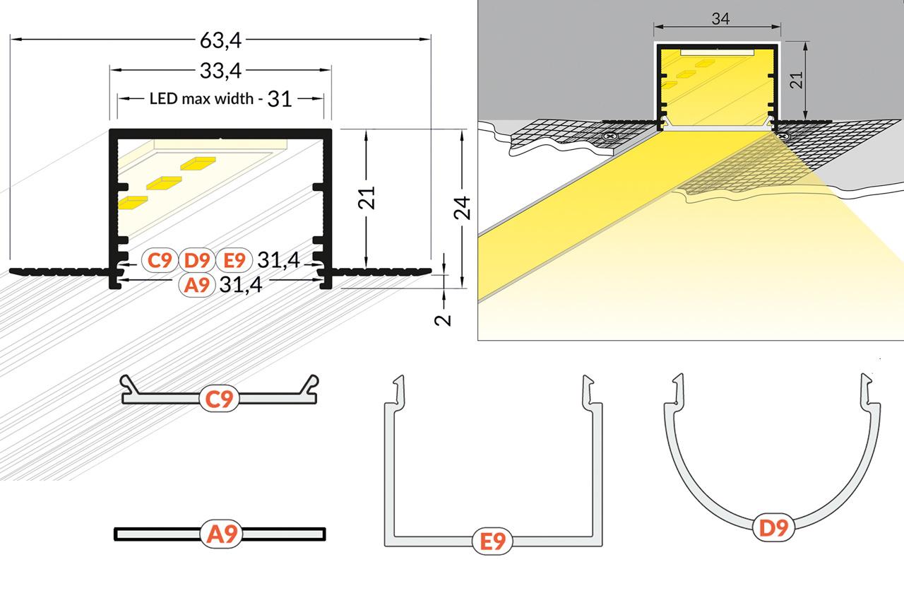 EVO305 TS 31mm verzonken inbouw Led Profiel 1m-2m