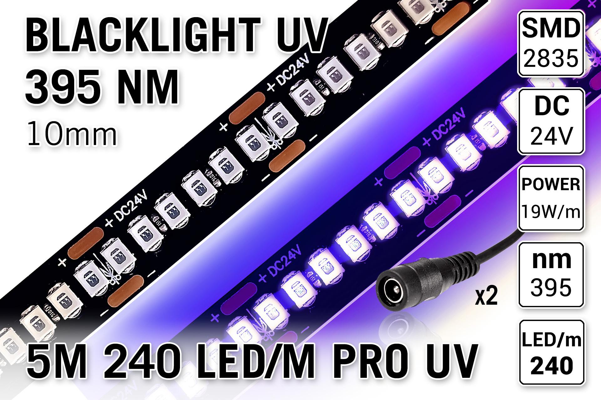 24V UV-A Blacklight LED strip | 395nm | 5M 240LED/m 20W/p.m
