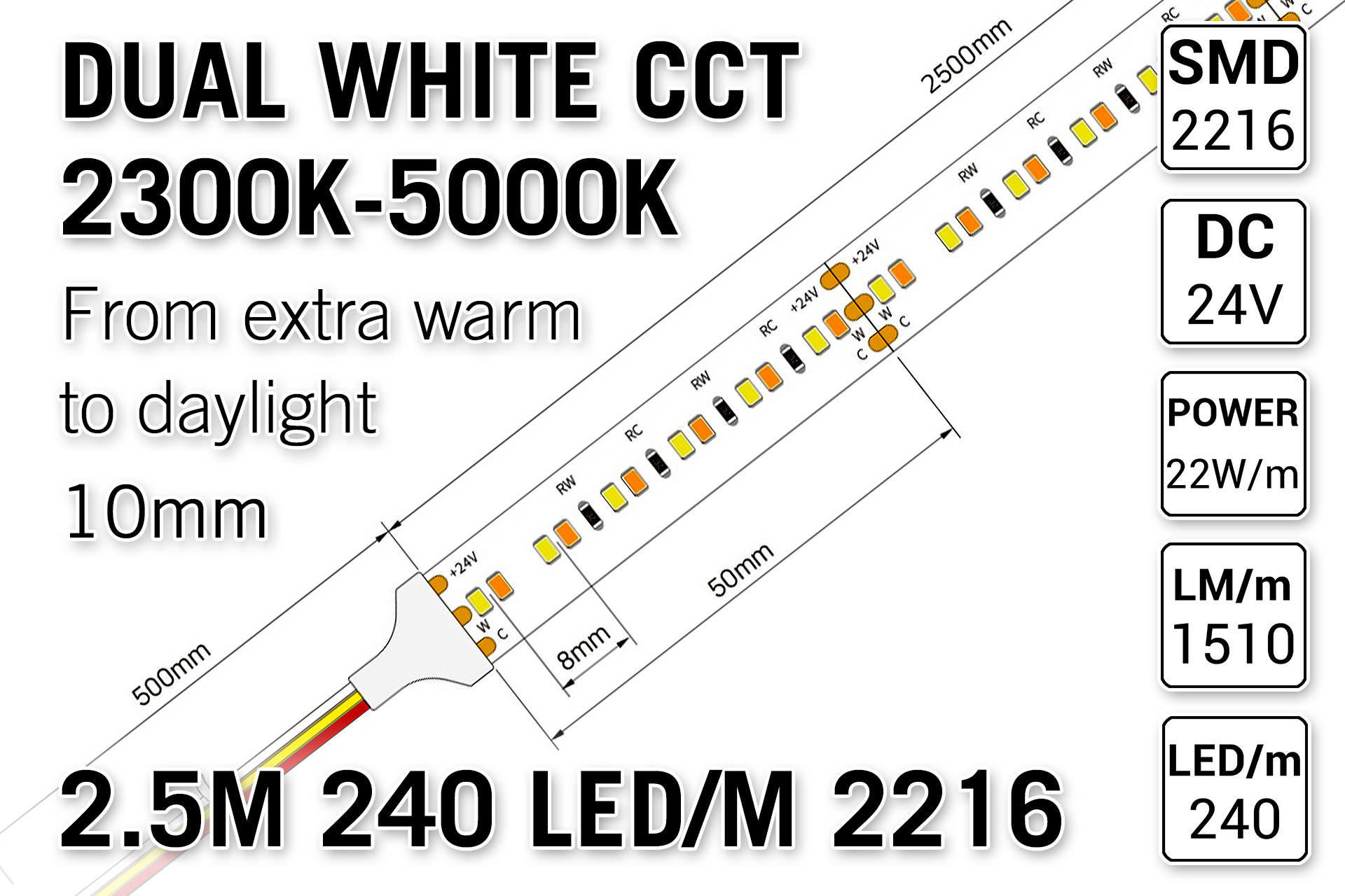 AppLamp ProLine PRO LINE Dual Wit 2300K~5000K CCT Led Strip | 2,5m 240 Leds pm Type 2216 24V - Losse Strip
