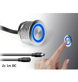 Ronde Inbouw Touch dimmer  ⌀18mm Chrome met blauwe functie LED | 12V-24V 4A