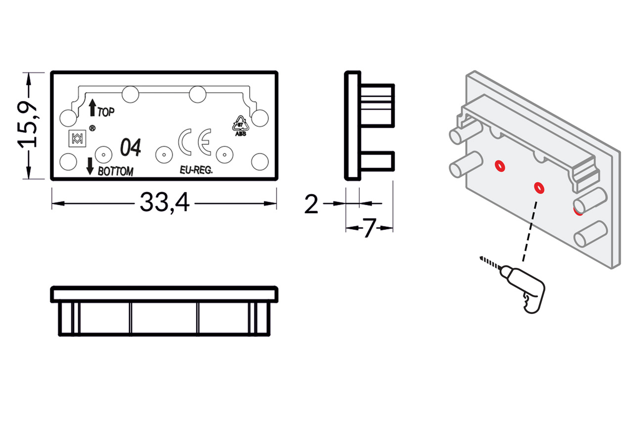 Eindkapjes EVO304 TS, Set van twee stuks