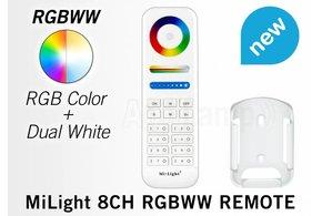 MiLight MiLight RGB+ DualWhite (RGB+CT) hand afstandsbediening,  8-zones, RF, 2xAAA