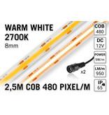 AppLamp Pro Line COB 2700K Warm Wit Led Strip | 2.5m 10W pm  12V | 480 pixels pm - Losse Strip