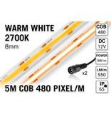 AppLamp Pro Line COB 2700K Warm Wit Led Strip | 5m 10W pm  12V | 480 pixels pm - Losse Strip