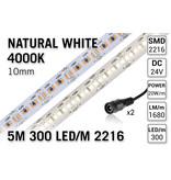 AppLamp ProLine PRO LINE Neutraal Wit Led Strip   5m 300 Leds pm Type 2216 24V Losse Strip