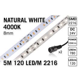 AppLamp ProLine PRO LINE Neutraal Wit Led Strip | 5m 120 Leds pm Type 2216 24V Losse Strip