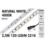 AppLamp ProLine PRO LINE Neutraal Wit Led Strip | 2,5m 120 Leds pm Type 2216 24V Losse Strip