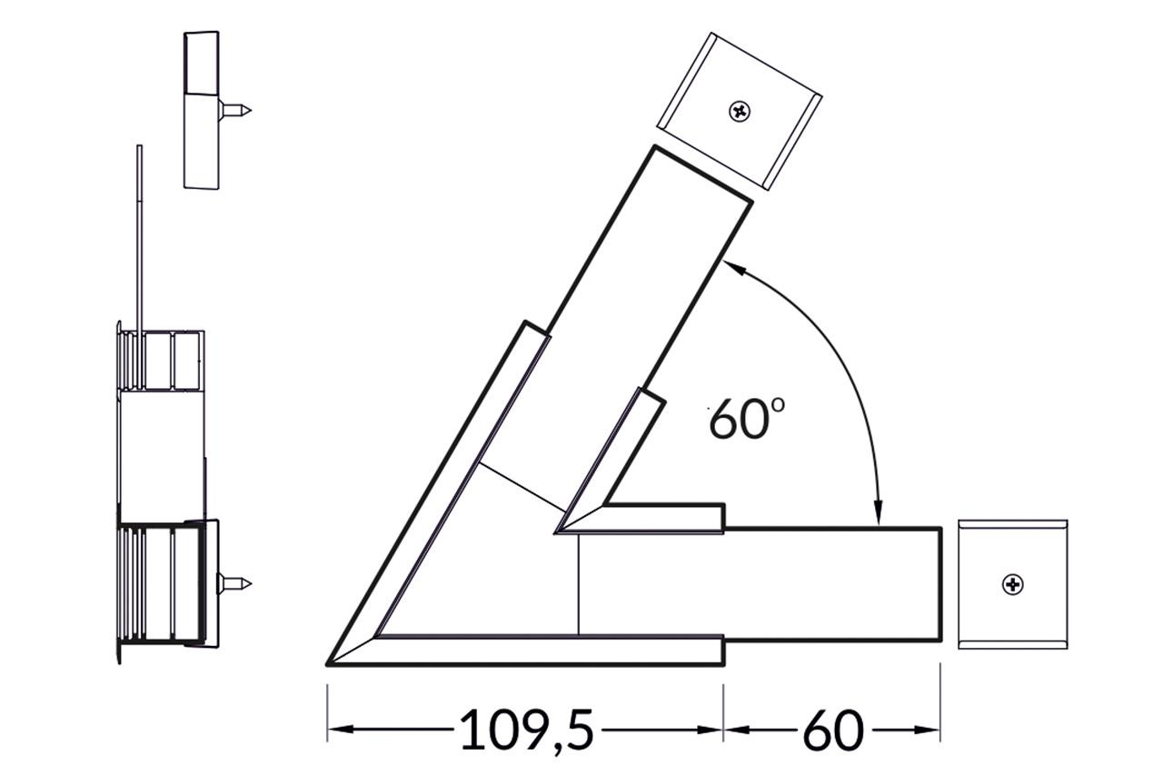 Hoek koppelstuk 60° voor EVO307 LED profiel