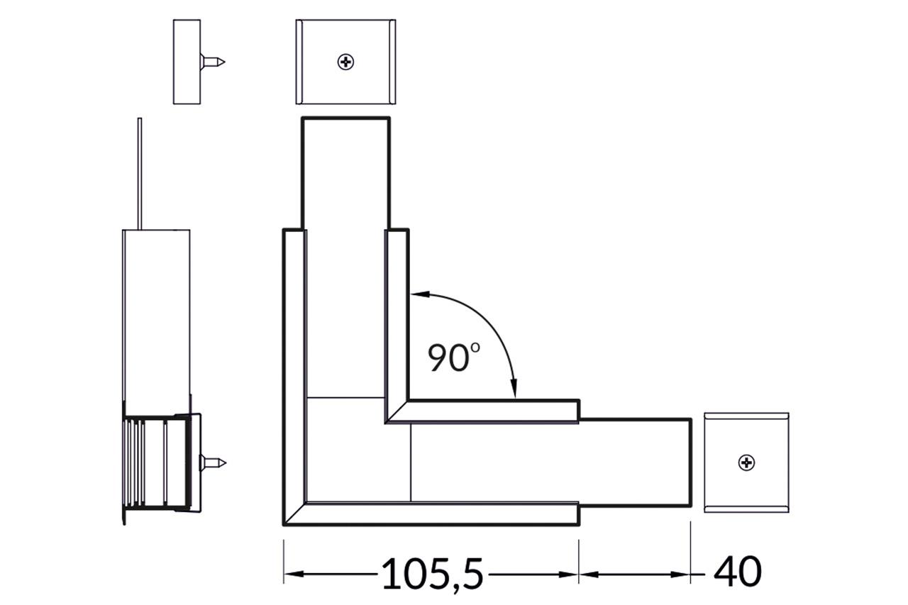 Hoek koppelstuk 90° voor EVO307 LED profiel
