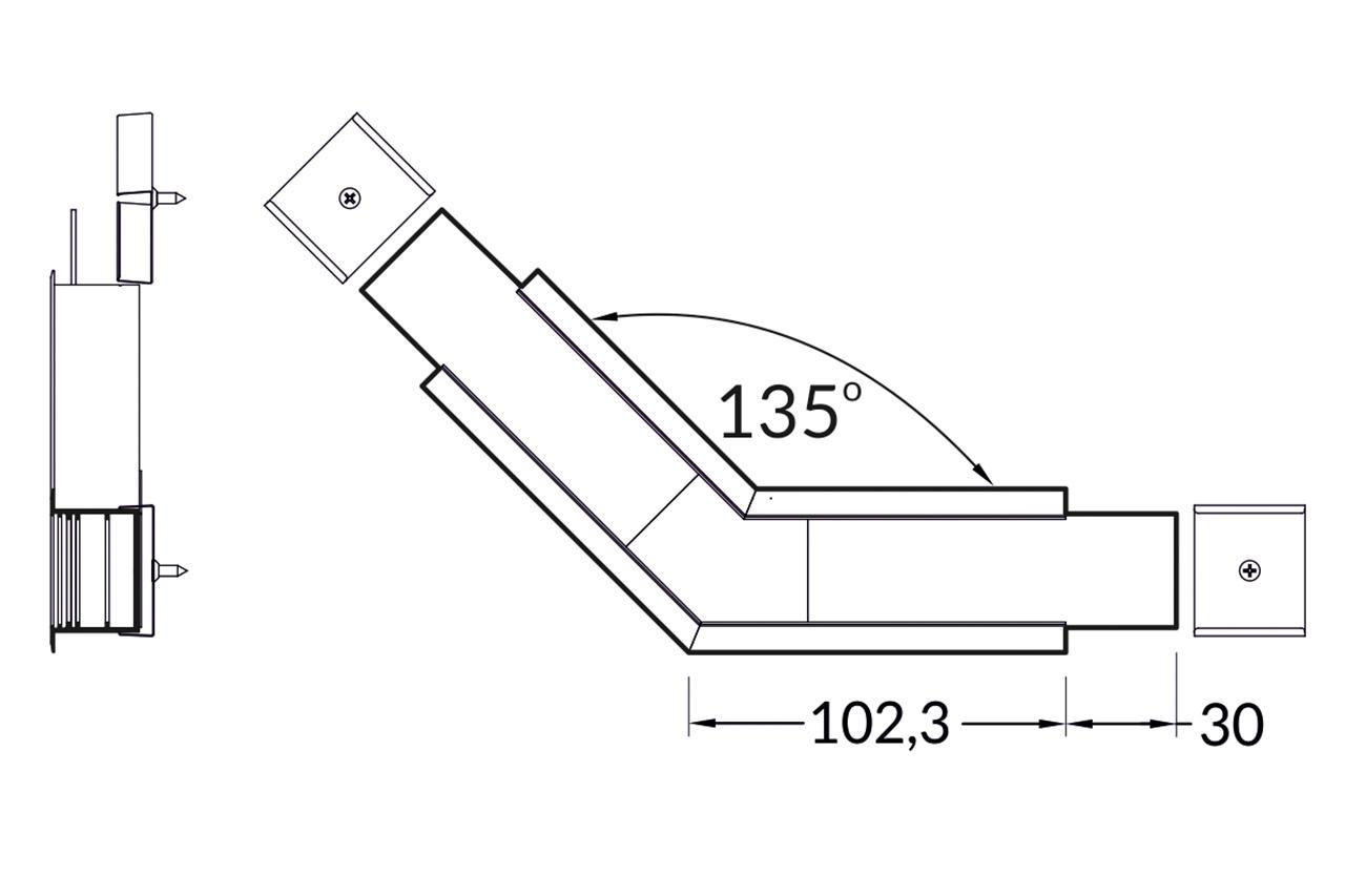 Hoek koppelstuk 135° voor EVO307 LED profiel
