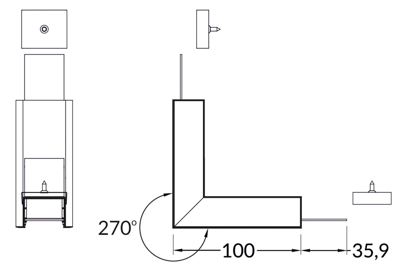 Hoek koppelstuk 90° buitenhoek voor EVO307 LED profiel