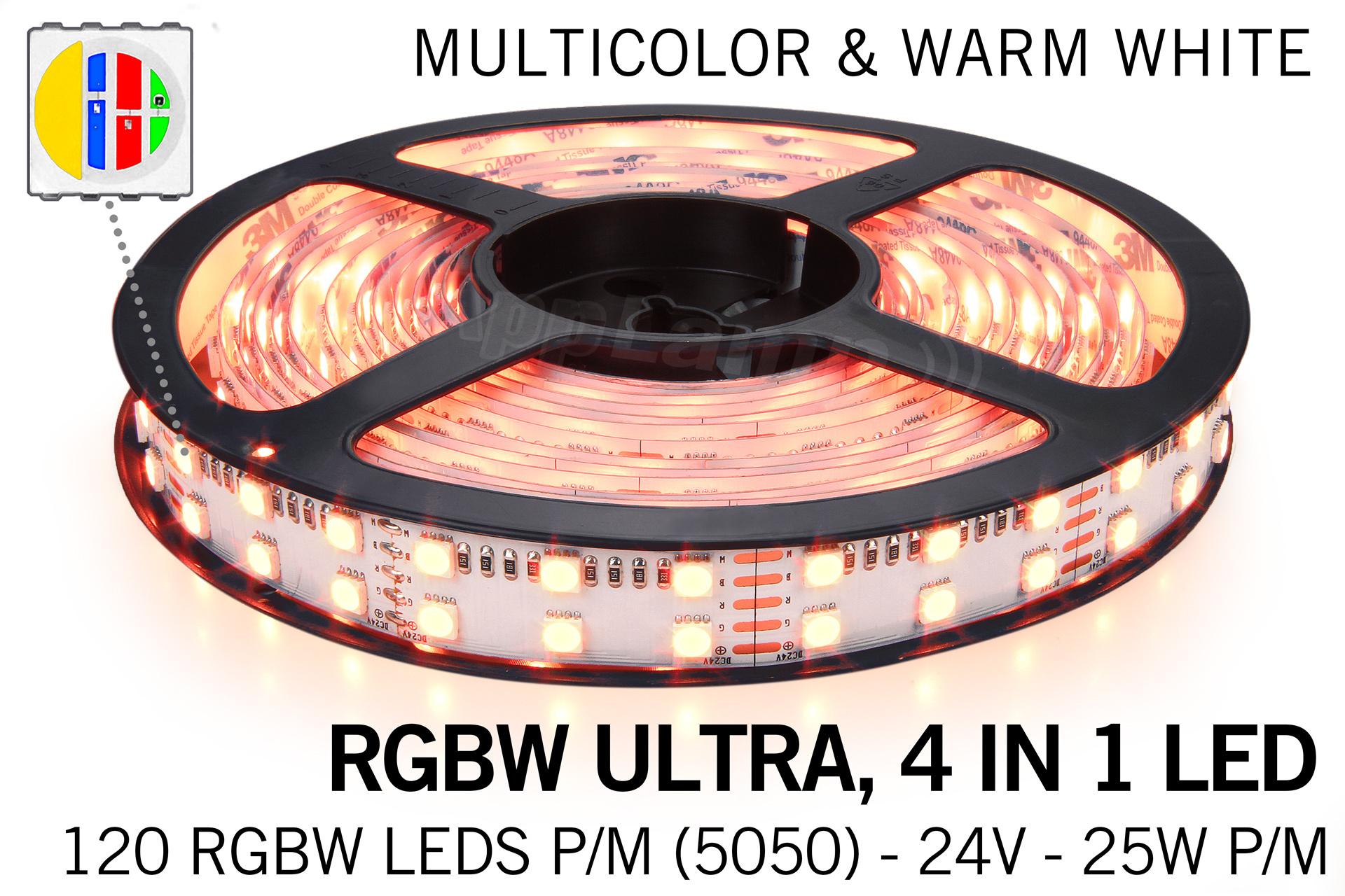 Applamp RGBW ULTRA LED strip dubbele rij 120 LED per meter, 4 IN 1 LED
