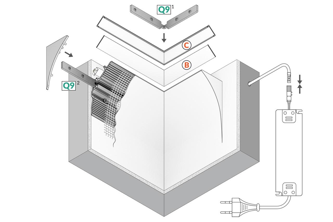 CURVA 12mm opbouw Led Profiel - Stuc sierlijst indirecte verlichting.
