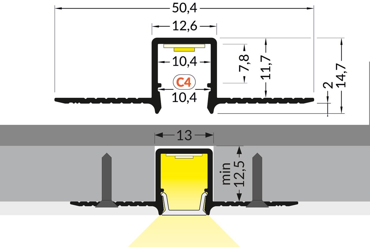 MODO TS 10mm verzonken Led Profiel voor gipsplaat en stucwerk.