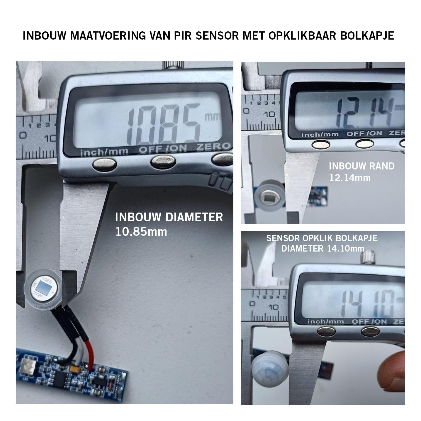 LED PIR bewegingssensor <=2m | 6~70s | 8A 12V-24V | inbouw ledprofiel