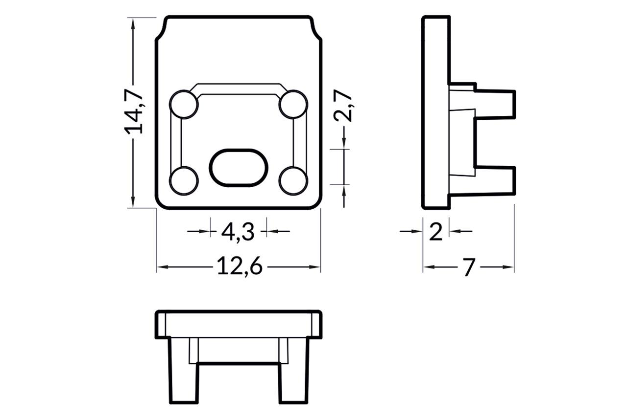 Eindkapjes MODO10 TS , Set van twee stuks
