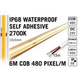 AppLamp 6m IP68 Waterdichte COB 2700K Warm Wit Led Strip | 9W pm  24V | 480 pixels pm - Zelfklevend