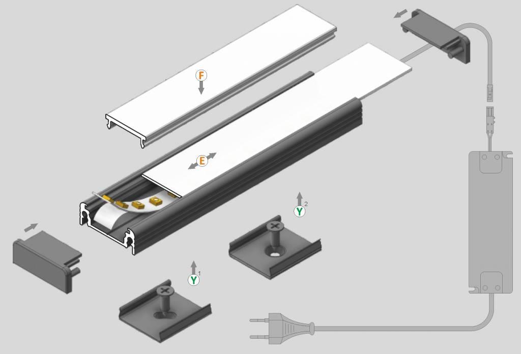 FLUID 14mm Led Profiel Opbouw 1m-2m