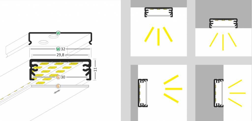 STRETCHED 24mm Led Profiel Opbouw 1m-2m