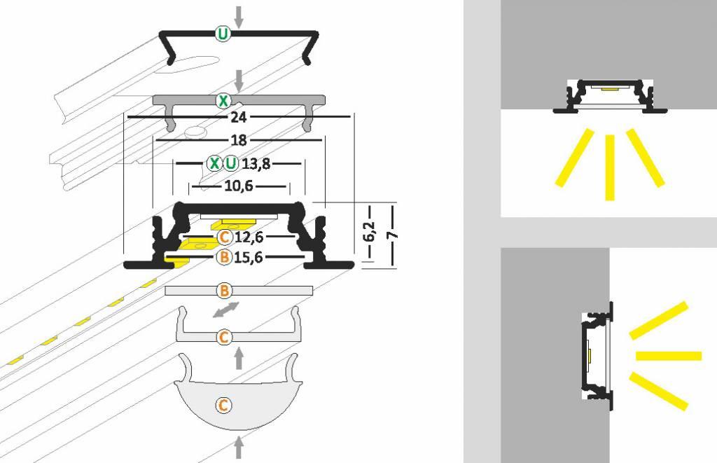 LINEA10 10mm Verzonken Led Profiel 1m-2m