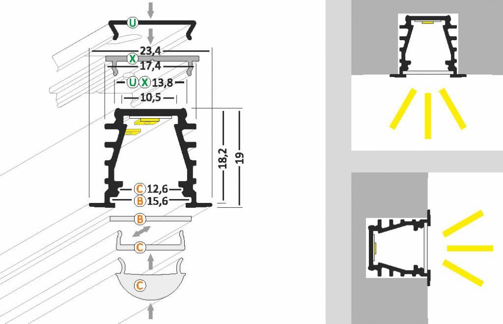 SUB 10mm Verzonken Led Profiel 1m-2m