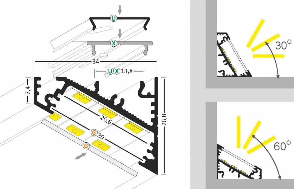 ANGLE27 27mm Opbouw Led Profiel 1m-2m
