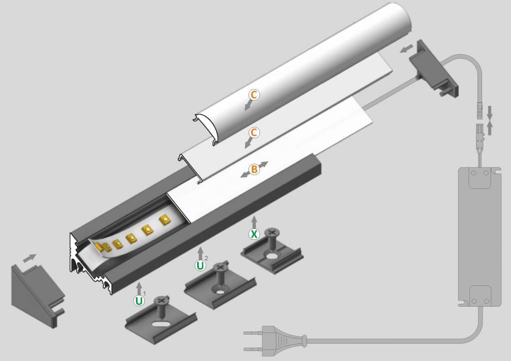 ANGLE10 10mm Opbouw Led Profiel 1m-2m