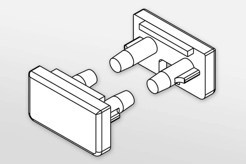 Eindkapjes voor  profiel type CONTOUR. Set van twee, met of zonder kabelgat
