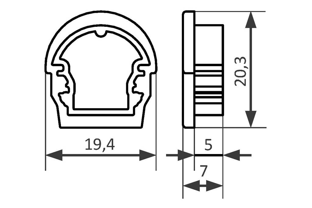 Eindkapjes voor LED profiel OMNI met RONDE Cover `D`, Set van twee, met of zonder kabelgat