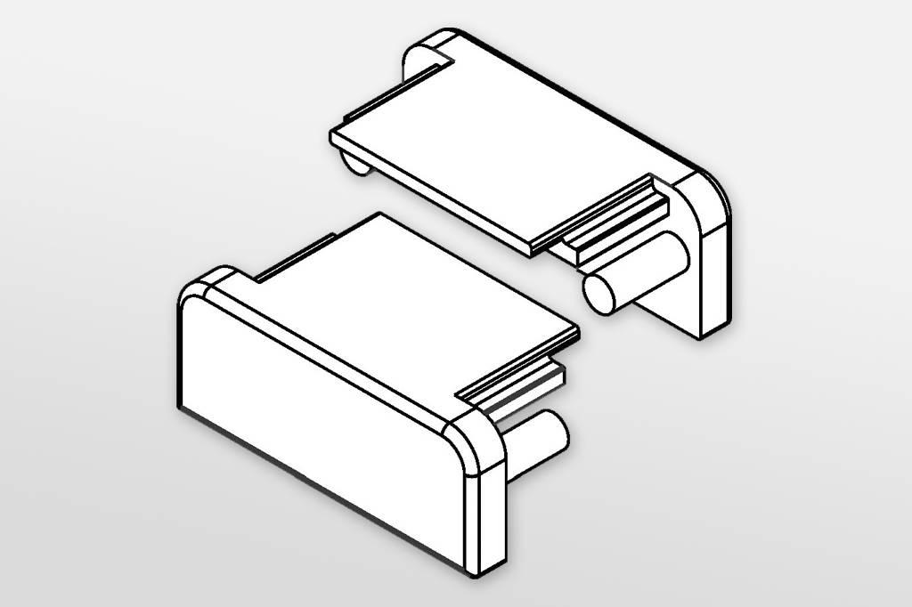 Eindkapjes voor LED profiel FLUID, Set van twee, met of zonder kabelgat
